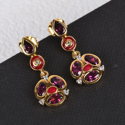 Purple Garnet and Natural Cambodian Zircon Enamelled Earrings (with Push Back) in 14K Gold Overlay Sterling Silver 2.25 Ct.