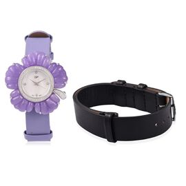 GP Swiss Movement Water Resistant Carved Purple Jade and Simulated Diamond Sterling Silver Watch wit