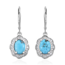2.75 Ct Persian Turquoise and Cambodian Zircon Halo Drop Earrings in Platinum Plated Sterling Silver