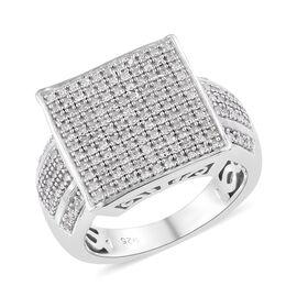 0.50 Carat Diamond Cluster Ring in Sterling Silver 5.5 Grams