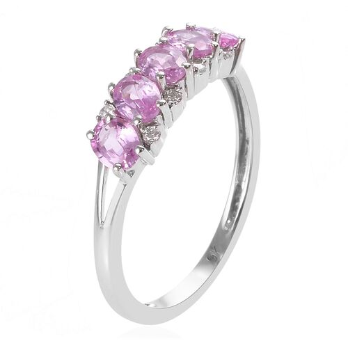 9K White Gold Pink Sapphire (Ovl), Diamond Ring 1.00 Ct.