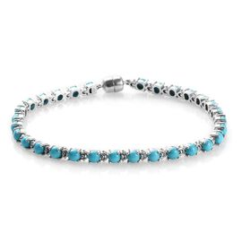 Arizona Sleeping Beauty Turquoise (Rnd) Bracelet (Size 8) in Platinum Overlay Sterling Silver 8.25 C