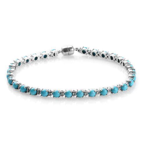 Arizona Sleeping Beauty Turquoise (Rnd) Bracelet (Size 8) in Platinum Overlay Sterling Silver 8.25 C