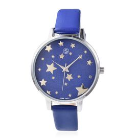 STRADA Japanese Movement Water Resistant Star Pattern Watch with Blue Strap