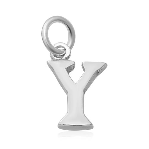 Thai Sterling Silver - Rhodium Overlay Sterling Silver Y Initial Pendant