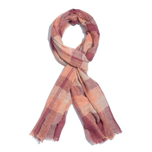 Italian Designer Inspired Burgundy, Orange and Multi Colour Checks Pattern Scarf (Size 190x150 Cm) 5% CASHMERE WOOL, 65% MICRO MODAL & 30% MERCERIZED COTTON