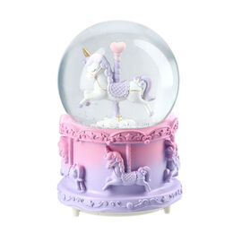 Home Decor - Musical Crystal Globe with Unicorn (Size 15x10Cm) - Pink and Purple