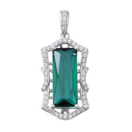 ELANZA AAA Simulated Emerald (Oct 17x7), Simulated Diamond Pendant in Sterling Silver