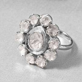 GP 2 Carat Polki Diamond Floral Ring in Platinum Plated Sterling Silver