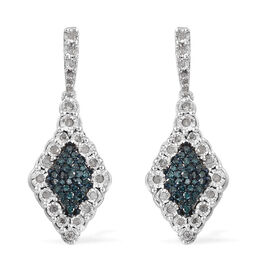 Blue and White Diamond (Rnd) Earrings (with Push Back) in Platinum Overlay with Blue Plating Sterlin