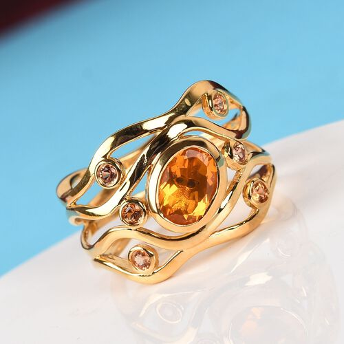 GP -  Jalisco Fire Opal, Orange Sapphire and Blue Sapphire Ring in 14K Gold Overlay Sterling Silver 1.020  Ct, Silver wt. 5.76 Gms