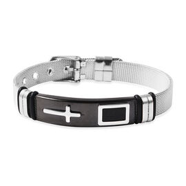 Cross Mens Bracelet with Mesh Chain in Black and Silver Plated Stainless Steel 6.5 to 8.5 Inch
