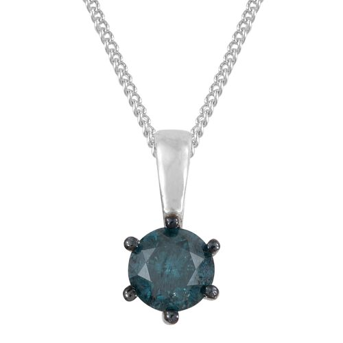 Super Auction - SGL Certified Blue Diamond (I1-I2) (Rnd) Solitaire Pendant with Chain (Size 18) in Blue and Platinum Overlay Sterling Silver 0.500 Ct.
