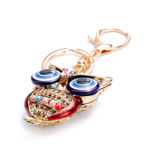 Set of 3 Multi Colour Austrian Crystal, Simulated Blue Topaz and Multi Gemtsone Crown, Dragon and Owl Enamelled Keychains in Rose Gold Tone