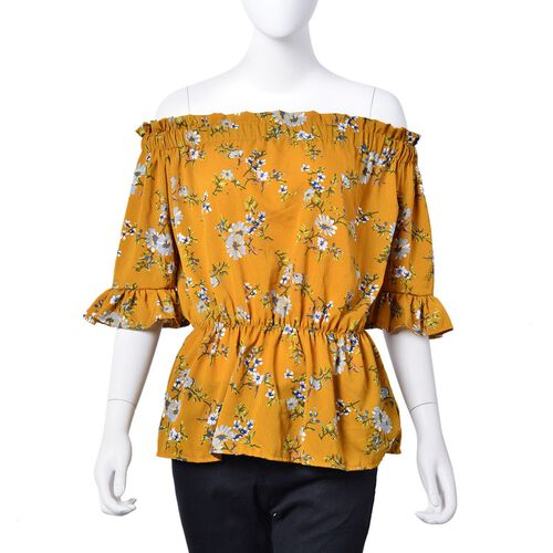 Summer Collection - Limited Available - Yellow and Multi Colour Floral Pattern Peplum Top (Medium-La