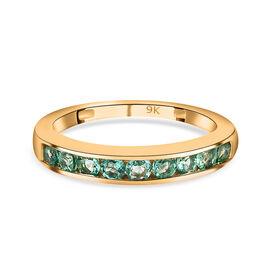 WEBEX 9K Yellow Gold Boyoca Colombian Emerald Half Eternity Band Ring