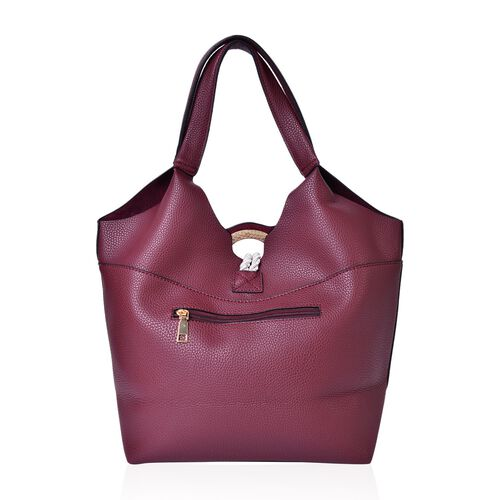 Burgundy Colour Tote Bag with Rope and Metallic Circle at Front (Size 43X29X27X14 Cm)