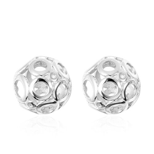 Ball Stud Earrings in Rhodium Plated Sterling Silver