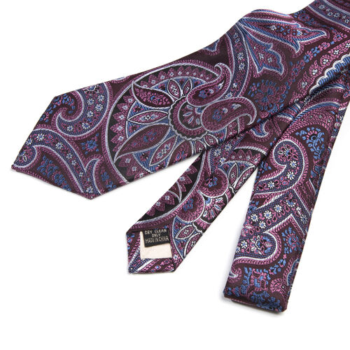 William Hunt- Silk Paisley Print Tie - Maroon