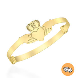 Claddagh Expandable Bangle for Children in 9K Gold Size 5 Inch