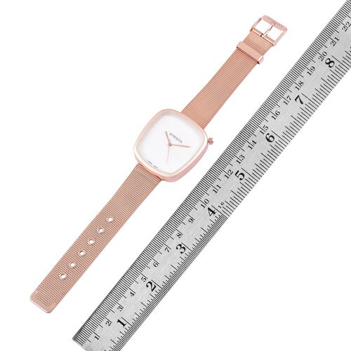 Designer Inspired - STRADA Japanese Movement White Dial Watch in Gold Tone