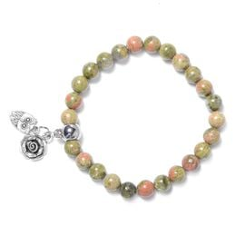Unakite (Rnd), Bracelet (Size 7.5 Strechable) with Multi Charm in Silver Tone