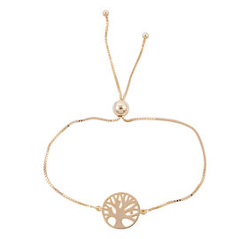 Royal Bali Collection - 9K Yellow Gold Tree of Life Adjustable Bolo Bracelet (Size 6.5-8) 1.99 Grams