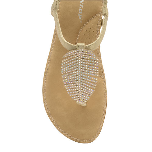 Dunlop Rue Embellished Feather Toe Post Flat Sandals (Size 4) - Pale Gold