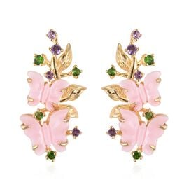 Jardin Collection Mother of Pearl and Multi Gemstone Butterfly Earrings in Gold Plated Silver