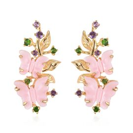 Jardin Collection - Pink Mother of Pearl, Russian Diopside and Amethyst Butterfly Earrings (with Pus