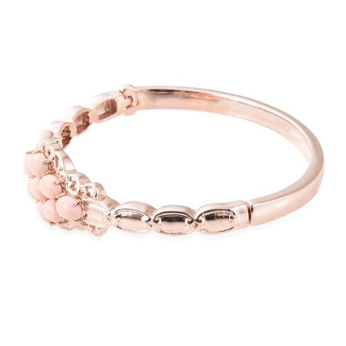 Pink Howlite (Ovl 7x5 mm) Bangle (Size 7.5) in Rose Gold Plated Stainless Steel  6.000 Ct.