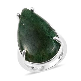 19.50 Ct Green Aventurine Cocktail Solitaire Ring in Sterling Silver