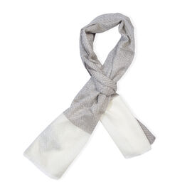 100% Cashmere Wool Silver and White Colour Ultra Soft Scarf (Size 200X70 Cm)