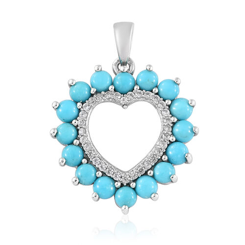 Arizona Sleeping Beauty Turquoise (Rnd), Natural White Cambodian Zircon Heart Pendant in Platinum Overlay Sterling Silver 2.000 Ct