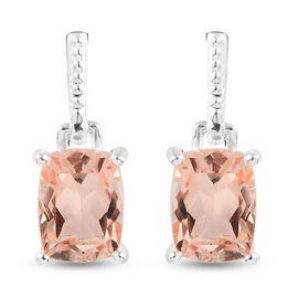 Morganite Triplet Quartz Dangling Earrings in Sterling Silver 3.00 Ct.