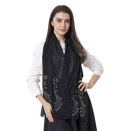 Black Colour Peacock Pattern Crystal Embellished Scarf (Size 80.01x50.80 Cm)