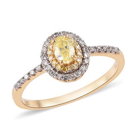 14K Yellow Gold Natural Yellow Diamond and White Diamond Ring 0.50 Ct.