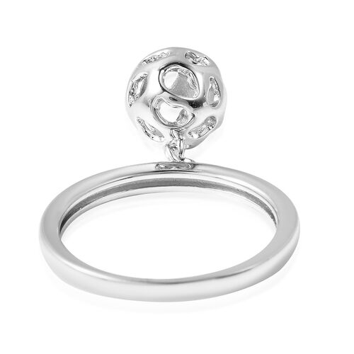 RACHEL GALLEY Rhodium Overlay Sterling Silver Lattice Globe Ring