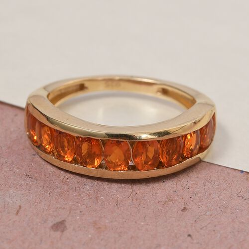 One Time Close Out Deal- Jalisco Fire Opal Half Eternity Band Ring in 14K Gold Overlay Sterling Silver 1.00 Ct.