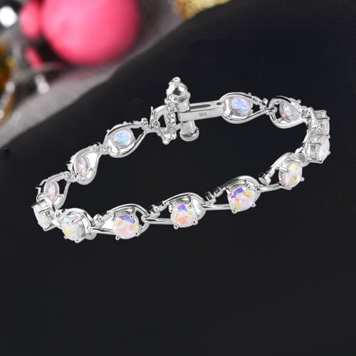 Mercury Mystic Topaz and Diamond Bracelet (Size 7) in Platinum Overlay Sterling Silver 11.51 Ct, Silver wt. 12.42 Gms