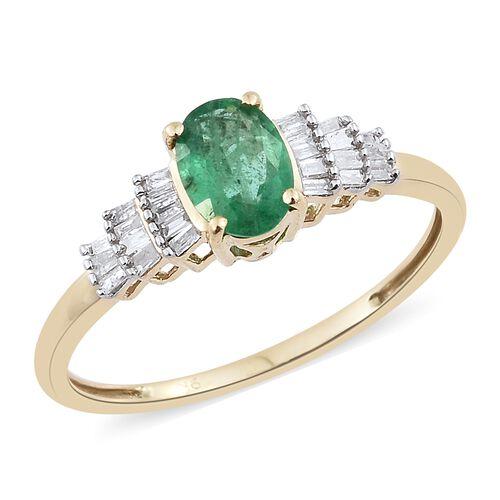 1 Carat AAA Kagem Zambian Emerald and Diamond Ballerina Ring in 9K Gold