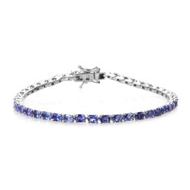 7 Carat Tanzanite Tennis Bracelet in Platinum Plated Sterling Silver 8 Grams 7.5 Inch