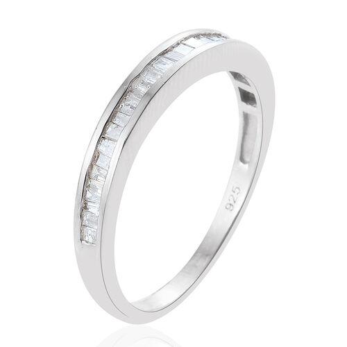 Diamond (Bgt) Half Eternity Ring in Platinum Overlay Sterling Silver 0.500 Ct.