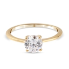 J Francis - 14K Gold Overlay Sterling Silver Solitaire Ring (Size Q) Made with SWAROVSKI ZIRCONIA 1.500 Ct.