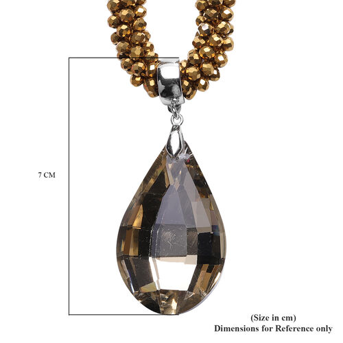 2 Piece Set  - Simulated Champagne Diamond and Golden Bead Necklace (Size 20) with Detachable Pendant