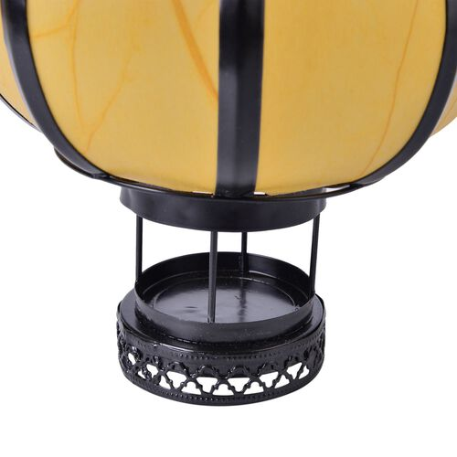 Yellow and Black Colour Round Shape Hanging Lantern (Size 23X16 Cm)
