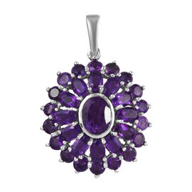 AA Amethyst Floral Pendant in Platinum Overlay Sterling Silver 5.75 Ct.