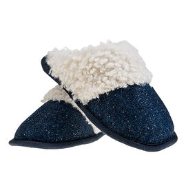 ARAN Tweed Slip-on Slippers with Fur Lining - Blue