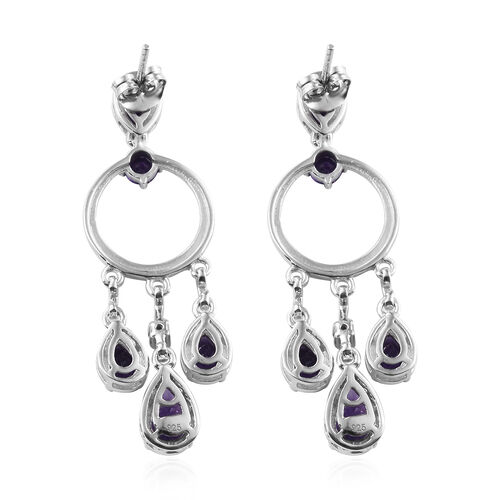 Lusaka Amethyst (Pear), Natural Cambodian Zircon Chandelier Earrings (with Push Back) in Platinum Overlay Sterling Silver 4.500 Ct. Silver wt 8.80 Gms.