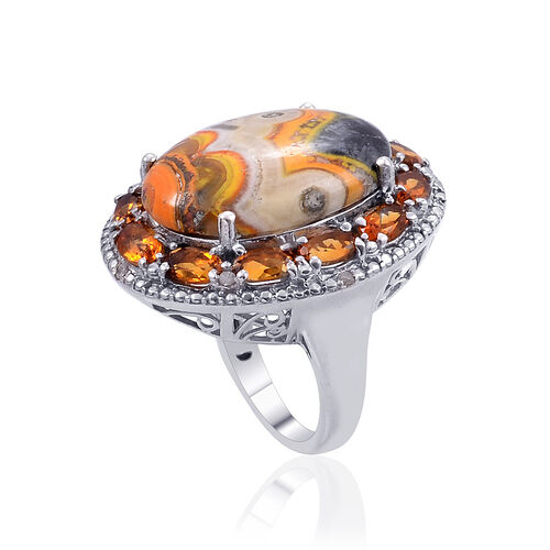 Bumble Bee Jasper (Ovl 10.25 Ct), Madeira Citrine and Diamond Ring in Platinum Overlay Sterling Silver 12.300 Ct.